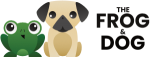 frog and dog logo with text
